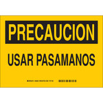 Brady B-555 Aluminum Rectangle Yellow Safety Awareness Sign - 10 in Width x 7 in Height - Language Spanish - 38220