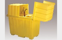 Eagle Yellow High Density Polyethylene 220 gal Spill Workstation - Supports 2 Drums - 60 in Width - 34 in Length - 64 in Height - 048441-60190