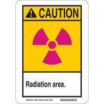 Brady B-555 Aluminum Rectangle Yellow Radiation Hazard Sign - 10 in Width x 14 in Height - 49018