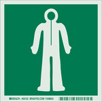 Brady Bradyglo B-324 Polyester Square Green IMO Evacuation Sign - 6 in Width x 6 in Height - Glow in the Dark - 59122