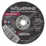 Weiler Weiler Wolverine Aluminum Oxide Cutting Wheel - Type 1 - Straight Wheel - 36 Grit - S Grade - 2 in Diameter - 3/8 in Center Hole - 1/8 in Thick - 56130