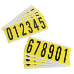 Brady 34 Series 3450-# KIT Black on Yellow Vinyl Cloth Numbers Label Kit - Indoor - 1 1/2 in Width - 3 1/2 in Height - 2 15/16 in Character Height - 34552