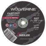 Weiler Aluminum Oxide Cutoff Wheel - Type 1 (Straight) - 60 Grit Fine Grade - 3 in Diameter - 1/4 in Center Hole - 56061