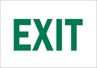 Brady B-401 High Impact Polystyrene Rectangle White Exit Sign - 10 in Width x 7 in Height - 22491