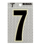 Brady 3010-7 Black on Silver Number Label - Indoor / Outdoor - 2 1/2 in Width - 3 1/2 in Height - 3 in Character Height - B-309