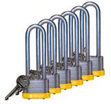 Brady Yellow Steel 5-pin Keyed & Safety Padlock 123239 - 1 5/16 in Width - 1 1/5 in Height - 17/64 in Shackle Diameter - 1 Key(s) Included - 754473-71991