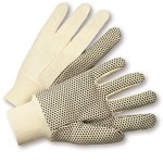 West Chester K01PDI White Large Cotton Work Gloves - Straight Thumb - PVC Dotted Palm & Fingers Coating - 10 in Length