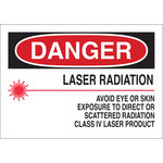 Brady B-555 Aluminum Rectangle White Laser Hazard Sign - 10 in Width x 7 in Height - 42837