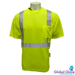 Global Glove GLO-008 Yellow Synthetic High Visibility Shirt - T-Shirt - ANSI Class 2 Rating - GLO-007 LG