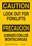 Brady B-555 Aluminum Rectangle Yellow Truck & Forklift Warehouse Traffic Sign - 7 in Width x 10 in Height - Language English / Spanish - 123995