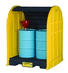 Justrite Black/Yellow Ecopolyblend 2500 lb 67 gal Pallet & Shed - Supports 2 Drums - 60 3/4 in Width - 58 1/2 in Length - 75 1/4 in Height - 697841-13357