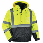 Ergodyne GloWear 8381 Lime Large Polyester (Shell)/Polyurethane (Coating) Work Jacket - Detachable Hood - 720476-25594