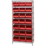 Red Shelves With Bins - 36 in x 18 in x 74 in - SHP-3166