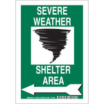Brady B-555 Aluminum Rectangle White Severe Weather Sign - 7 in Width x 10 in Height - 123797