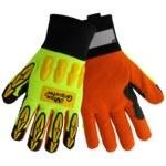 Global Glove Vise Gripster SG9955 Orange/Yellow 9 Aralene Work Glove - Smooth Finish - SG9955/9