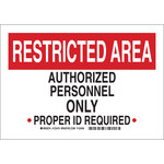 Brady B-555 Aluminum Rectangle White Restricted Area Sign - 10 in Width x 7 in Height - 123474