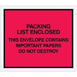 Red Important Papers Enclosed Envelopes - 7 in x 6 in - 2 Mil Poly Thick - SHP-8275