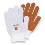 North Smitty Brown/White Medium Polyester Work Gloves - Nitrile Palm Only Coating - 81/1762M