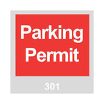 Brady 96236 Red / White on Gray Square Vinyl Parking Permit Label - 3 in Width - 3 in Height - Print Number(s) = 301 to 400