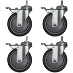 Akro-Mils Silver Caster Set - 5 in Casters - AWPCAST5Y