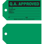 Brady 86771 Black on Green Cardstock Production Status Tag - 5 3/4 in Width - 3 in Height - B-853