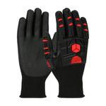 PIP G-Tek GP 34-MP155 Black/Red Large Nylon Work Gloves - Nitrile Palm & Fingers Coating - Rough Finish - 34-MP155/L