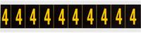 Brady 7890-4 Yellow on Black Vinyl Number Label - Indoor / Outdoor - 7/8 in Width - 1 1/2 in Height - 1 in Character Height - B-946