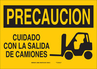 Brady B-401 Polystyrene Rectangle Yellow Truck & Forklift Warehouse Traffic Sign - 10 in Width x 7 in Height - Language English / Spanish - 38964
