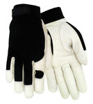 Red Steer 1523 Black/White Large Grain Goatskin Leather/Spandex Driver's Gloves - Wing Thumb - 1523-L