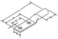 3M Scotchlok 31137 Black Copper Terminal Lug - 5.03 in Length - 0.44 in Inside Diameter - Two Hole - 1/2 in Stud - 69245