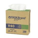 NuTrend TaskBrand V40 White DRC Cleaning Wipe - Interfold - Pop-up Dispenser Box - 100 per box - 9 in Overall Length - 16 1/2 in Width - NUTREND N-V040IDW