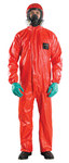 Ansell Microchem AlphaTec 68-CFR Red Large PVC/FR Treated Fabric Disposable Flame-Retardant Coverall - 076490-06068