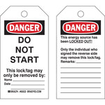 Brady 65446 Black / Red on White Cardstock Lockout / Tagout Tag - 3 in Width - 5 3/4 in Height - B-853