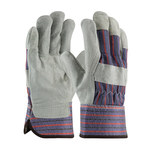 PIP 85-7500 Blue/Black/Red Striping on Gray Large Split Leather Work Gloves - Wing Thumb - 10.4 in Length - 85-7500/L