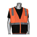 PIP 302-0710B Hi-Vis Orange Large Polyester Mesh High-Visibility Vest - 4 Pockets - 616314-24355