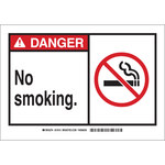 Brady B-401 Polystyrene Rectangle White No Smoking Sign - 14 in Width x 10 in Height - 26590