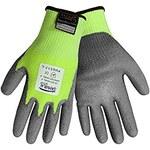 Global Glove Samurai PUG517 Gray/Yellow Large Taeki 5 Cut-Resistant Gloves - ANSI 4 Cut Resistance - Polyurethane Palm & Fingers Coating - PUG517/LG