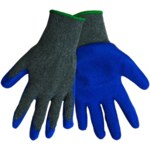 Global Glove Gripster 300E Blue/Gray 9 Cotton/Polyester Work Gloves - Rubber Palm Only Coating - Rough Finish - 300E/9