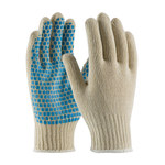 PIP 37-C110B Blue/White Large Cotton/Polyester General Purpose Gloves - PVC Brick Pattern Palm & Fingers Coating - 10 in Length - 37-C110B/L