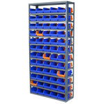 Akro-Mils 6500 lb Adjustable Blue Gray Steel 22 ga Open Adjustable Fixed Shelving System - 60 Bins - 6500 lb Total Capacity - AS127936462B