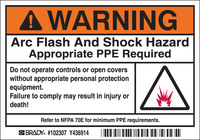 Brady 102307 Black / Orange on White Rectangle Polyester Arc Flash Label - 5 in Width - 3 1/2 in Height - B-302
