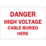 Brady B-555 Aluminum Rectangle White Buried Cable or Line Sign - 10 in Width x 7 in Height - 41133
