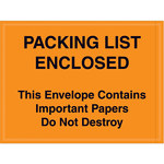 Orange Important Papers Enclosed Envelopes - 4.5 in x 6 in - 2 Mil Poly Thick - SHP-8273