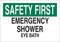 Brady B-120 Fiberglass Reinforced Polyester Rectangle White Eyewash & Shower Sign - 20 in Width x 14 in Height - 73455