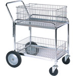 Shipping Supply Silver Mail Cart - 33.5 in x 23.75 in x 38.25 in - SHP-8554