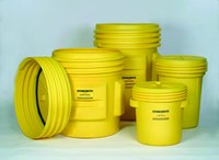 Eagle Yellow High Density Polyethylene 20 gal Spill Containment Drum - Screw-on Lid - 20 3/4 in Height - 16 3/4 (Bottom) in, 20 3/8 (Top) in Overall Diameter - 048441-60300
