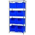 Akro-Mils Stak-N-Store 2000 lb Adjustable Blue Chrome Steel Open Adjustable Fixed Shelving System - 8 Bins - 2000 lb Total Capacity - AWS183613018 BLUE