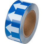 Brady 106174 White on Blue Directional Flow Arrow Tape - 2 in Width - 30 yd Length - B-302