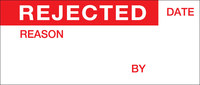 Brady WO-1 Red on White Vinyl Cloth Quality Control Label - 1 1/2 in Width - 5/8 in Height - B-500