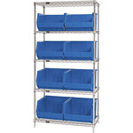 Blue Shelves With Bins - 36 in x 18 in x 74 in - SHP-3176